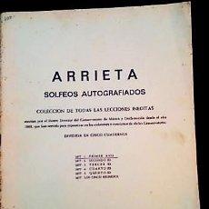 Partituras musicales: PARTITURAS DE SOLFEOS AUTOGRAFIADOS DE ARRIETA. AÑO 1968. Lote 196932097
