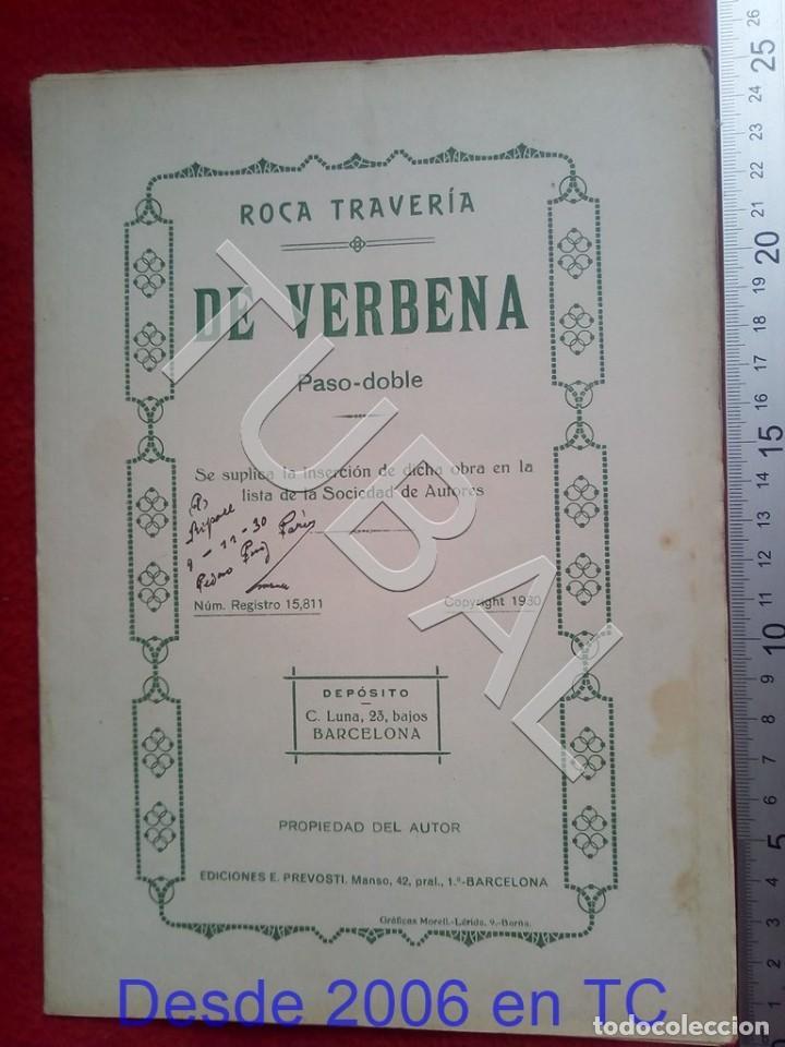 TUBAL ROCA TRAVERIA DE VERBENA 1930 PASODOBLE PARTITURA P5 (Música - Partituras Musicales Antiguas)