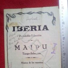 Partituras musicales: TUBAL 1929 JUAN RICA MANUEL PERALTA IBERIA MAIPU PASODOBLE TANGO PARTITURA P5. Lote 197880678
