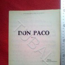 Partituras musicales: TUBAL ORQUESTA SENTIS SITNES DON PACO CHOTIS 1930 PARTITURA P5. Lote 197881761