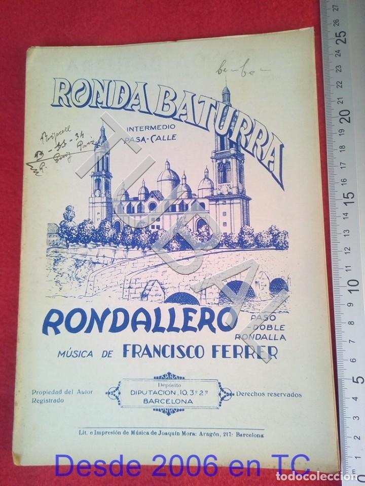 TUBAL FRANCISCO FERRER RONDA BATURRA RONDALLERO 1934 PARTITURA P6 (Música - Partituras Musicales Antiguas)