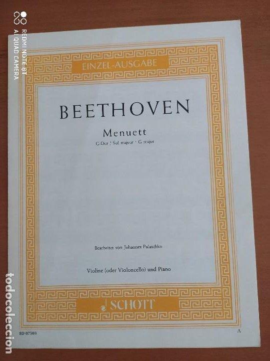 MENUETT EN SOL MAYOR, DE BEETHOVEN, VIOLONCHELO (CELLO), SCHOTT (Música - Partituras Musicales Antiguas)