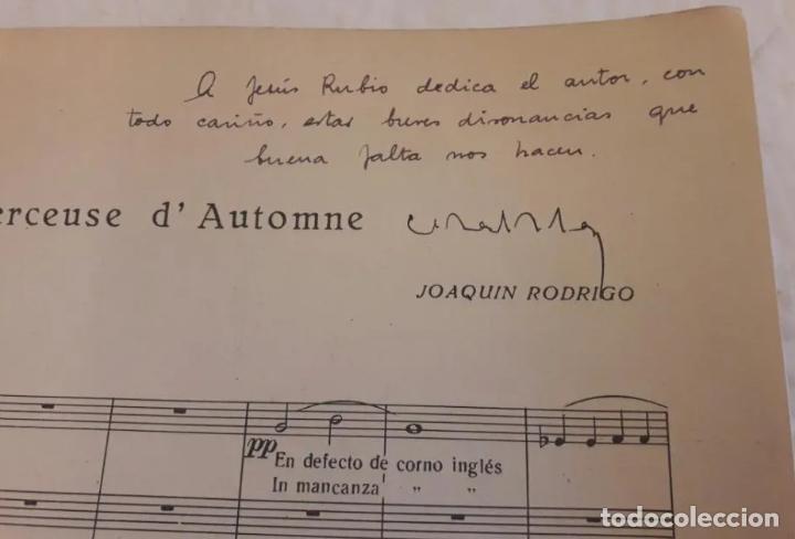 PARTITURA FIRMADA POR JOAQUÍN RODRIGO Y DEDICADA AL MINISTRO JESÚS RUBIO. DOS BERCEUSES. 1947. (Música - Partituras Musicales Antiguas)