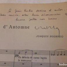 Partituras musicales: PARTITURA FIRMADA POR JOAQUÍN RODRIGO Y DEDICADA AL MINISTRO JESÚS RUBIO. DOS BERCEUSES. 1947.. Lote 203814790