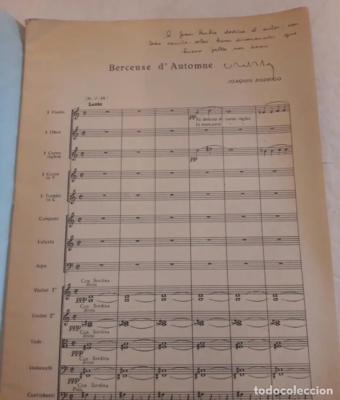 Partituras musicales: PARTITURA FIRMADA POR JOAQUÍN RODRIGO Y DEDICADA AL MINISTRO JESÚS RUBIO. DOS BERCEUSES. 1947. - Foto 3 - 203814790