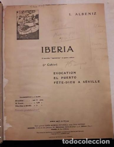 Partituras musicales: Albeniz.Falla.Iberia1907.Suite Espagnole1918.Unión Musical Española.Partituras. Piano.Música clásica - Foto 2 - 203817058
