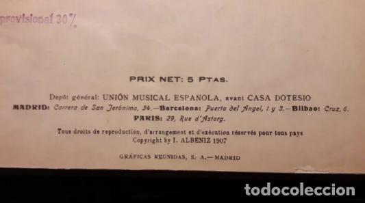 Partituras musicales: Albeniz.Falla.Iberia1907.Suite Espagnole1918.Unión Musical Española.Partituras. Piano.Música clásica - Foto 5 - 203817058