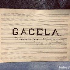 Partituras musicales: PARTITURA MANUSCRITA S XIX GACELA HABANERA M. JIMENEZ DE LA ACEÑA LETRA MIGUEL GOMEZ 22X30CMS. Lote 204242995