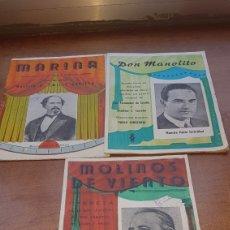 Partituras musicais: LOTE DE 3 OPERAS MOLINOS DE VIENTO , MARINA Y DON MANOLITO. Lote 204534216
