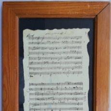 Partituras musicales: PARTITURA MANUSCRITA LÁMINA ENMARCADA - 36 CM X 27 CM (CON MARCO). Lote 204626197
