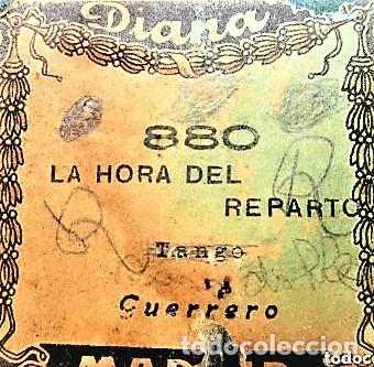 PARTITURA Nº 880 LA HORA DEL REPARTO TAHGO DE GUERRERO, PARA GRAMOLA MARCA DIANA EN BUEN ESTADO (Música - Partituras Musicales Antiguas)
