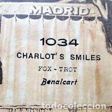 Partituras musicales: PARTITURA Nº 1034 CHARLOT'S SMILES FOX-TROT DE BENALCART, PARA GRAMOLA MARCA DIANA EN BUEN ESTADO. Lote 205474892