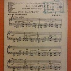 Partituras musicales: PARTITURA. LE COMPLOT. MORCEAU DESCRIPTIF CINEDRAME. DAS KOMPLOTT. J. BUYST, EDITEUR. Lote 206147607
