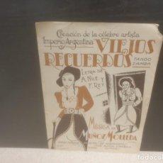 Partituras musicales: ANTIGUA PARTITURA DE MUSICA....VIEJOS RECUERDOS...TANGO ZAMBRA.....1933..... Lote 206361327