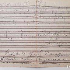 "Partituras musicales: FINAL ÓPERA ""ZARAGOZA"" DE GALDÓS. 1908. PARTITURAS MANUSCRITAS MAESTRO LAPUERTA.. Lote 206415262"