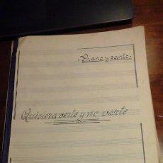 Partituras musicales: FEDERICO MORENO TORROBA: QUISIERA VERTE Y NO VERTE (PARTITURA MANUSCRITA PARA CANTO Y PIANO) (MADRID. Lote 206752783