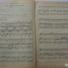 Partituras musicales: ANTIGUA PARTITURA.LA MACHAQUITO.ZARZUELA.LETRA LARRA Y CAPELLA.MUSICA GIMENEZ Y VIVES.1911. Lote 206755002