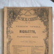 Partituras musicales: PARTITURA MUSICAL CABINET, PIANO FORTE SOLO, VERDI, RIGOLETTO LONDON BOOSEY & CO, HOLLES STREET. Lote 207131800