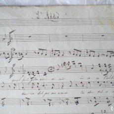 Partituras musicales: PARTITURA MANUSCRITA, L'ADDIO, SCHUBERT DOS PÁGINAS, CON LETRA, ALGUNA MANCHA. Lote 207133015