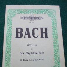 Partituras musicales: BACH ALBUM 20 PIEZAS FACILES PARA PIANO. Lote 207134078
