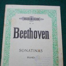 Partituras musicales: BEETHOVEN SONATINAS PIANO. Lote 207134145