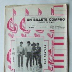 Partiture musicali: PARTITURA BEATLES GRAMOFONO-ODEON TICKET TO RIDE UN BILLETE COMPRO ORIGINAL 1965. Lote 210273348