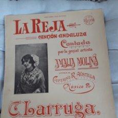 Partituras musicales: LA REJA, CANCIÓN ANDALUZA, PARTITURA PARA CANTO Y PIANO DE 1912, CASA DOTESIO. Lote 211470770