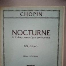 Partituras musicales: NOCTURNO PARA PIANO DE CHOPIN. Lote 212908176