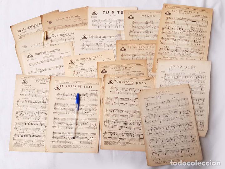 LOTE DE 16 PARTITURAS. EDICIONES HISPANIA. MADRID. 1940-1950. ORQUESTA RADIO JAZZ. (Música - Partituras Musicales Antiguas)