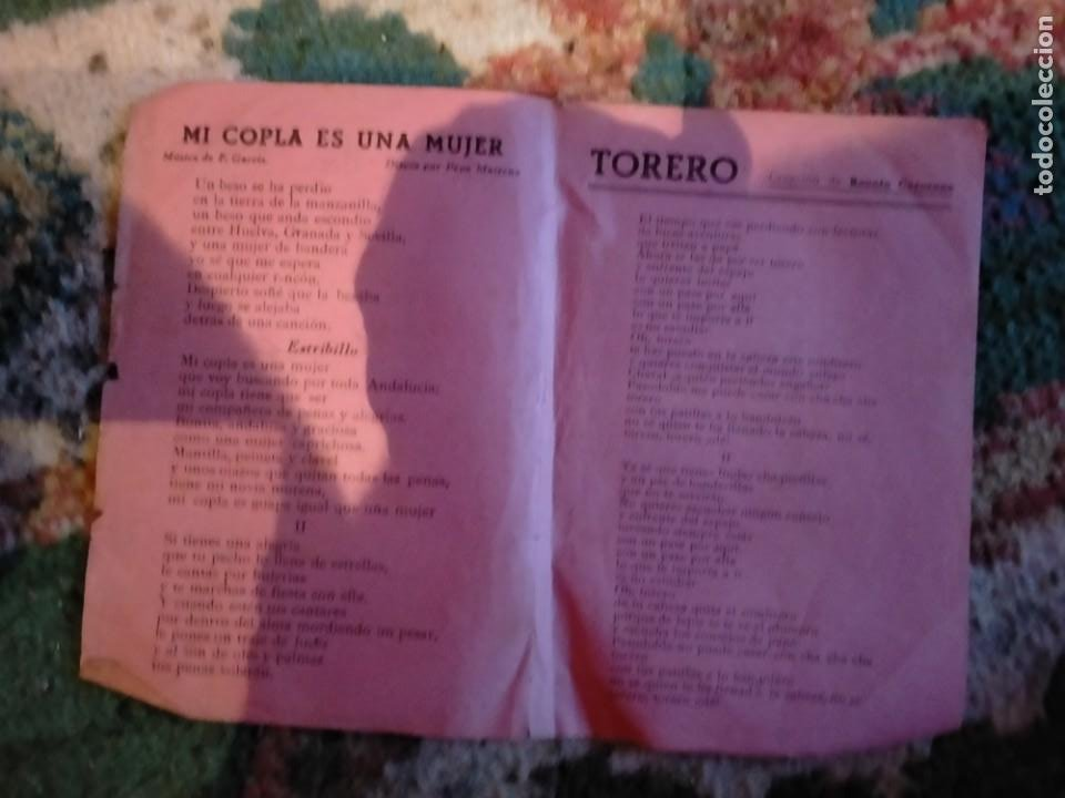 LETRA LETRAS DE LA CANCION CANCIONES MI COPLA ES UNA MUJER TORERO LA CHICA DE LA CRUZ ROJA CHELLA LL (Música - Partituras Musicales Antiguas)