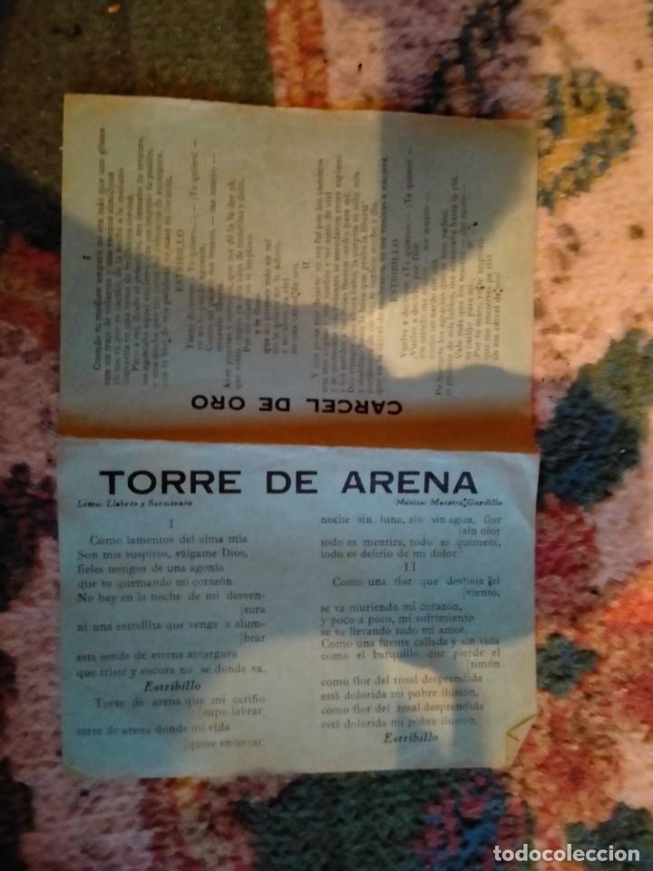 Partituras musicales: LETRA LETRAS DE LA CANCION CANCIONES ROMANCE DE VALENTIA TORRE DE ARENA CÁRCEL DE ORO - Foto 2 - 213436305