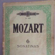 Partituras musicales: MOZART 6 SONATINAS Nº 183 ED. BOILEAU BARCELONA. Lote 216851521