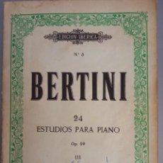 Partituras musicales: BERTINI Nº 23 OP. 29 24 ESTUDIOS PARA PIANO ED. BOILEAU BARCELONA. Lote 216856313