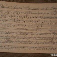 Partituras musicales: ANTIGUA PARTITURA: VIERNES SANTO ADORACION DE LA CRUZ – SABADO SANTO MEDIDAS 30 X 21 CM PESO 26 GR.. Lote 218466910