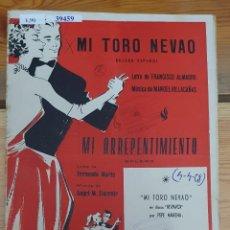 Partiture musicali: 39459 - PARTITURAS - 2 CANCIONES - MI TORO NEVADO Y ARREPENTIMIENTO - EDICIONES QUIROGA. Lote 219058555