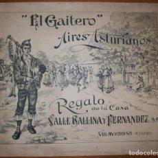 Partituras musicales: PARTITURA MUSICAL ECOS DE ASTURIAS. TONADAS DEL GAITERO. VILLAVICIOSA. POR M. ALBERDI. Lote 221577686
