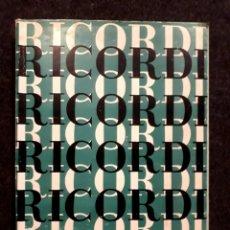 Partituras musicales: CATÁLOGO EDICIONES RICORDI PARA PIANO. PARTITURAS MUSICALES.1966. Lote 222601422