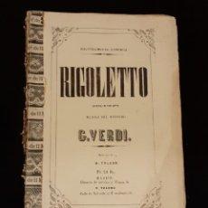 Partiture musicali: ANTIGUO LIBRO PARTITURAS RIGOLETTO DE VERDI S. XIX ~ MUSIC SHEETS BOOK RIGOLETTO VERDI 19TH C.. Lote 25659781