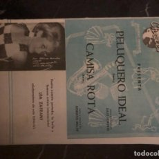 Partituras musicales: PELUQUERO IDEAL, JULIO LORENTE Y CAMISA ROTA, ROBERTO MILLER. CHALES EDICIONES MUSICALES. L. ZAFRANI. Lote 224886392