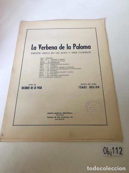 PARTITURA LA VERBENA DE LA PALOMA (Música - Partituras Musicales Antiguas)