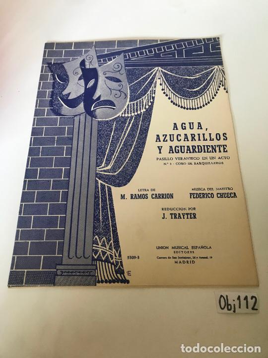 PARTITURA AGUA AZUCARILLOS Y AGUARDIENTE (Música - Partituras Musicales Antiguas)