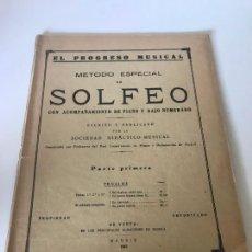 Partituras musicales: PARTITURA MÉTODO ESPECIAL DE SOLFEO CON ACOMPAÑAMIENTO DE PIANO Y BAJO NUMERADO. Lote 226292975