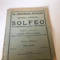 Partituras musicales: PARTITURA MÉTODO ESPECIAL DE SOLFEO COLN ACOMPAÑAMIENTO DE PIANO Y BAJO NUMERADO. Lote 226293080