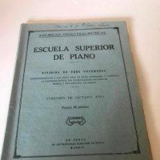 Partituras musicales: PARTITURA ESCUELA SUPERIOR DE PIANO. Lote 226293425