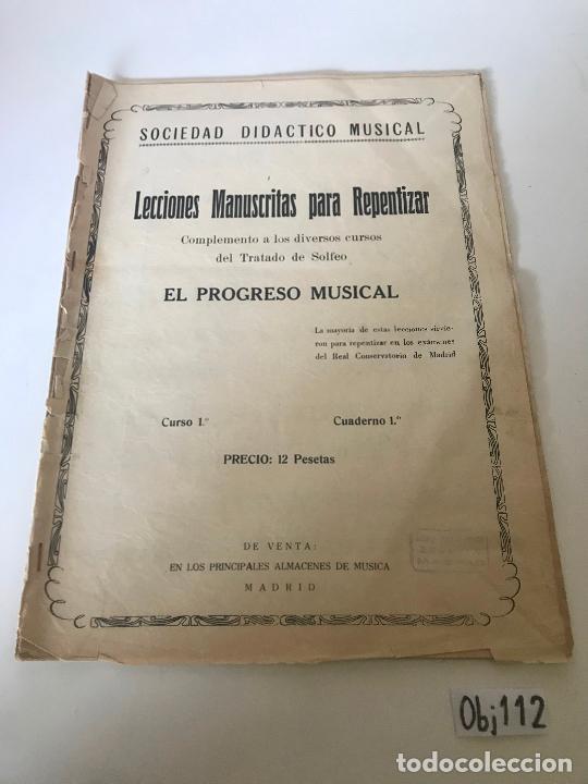 PARTITURA LECCIONES MANUSCRITAS PARA REPENTIZAR (Música - Partituras Musicales Antiguas)