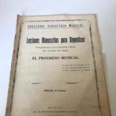 Partituras musicales: PARTITURA LECCIONES MANUSCRITAS PARA REPENTIZAR. Lote 226293660