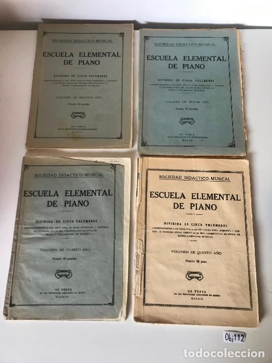 LOTE DE PARTITURAS - ESCUELA ELEMENTAL DE PIANO (Música - Partituras Musicales Antiguas)