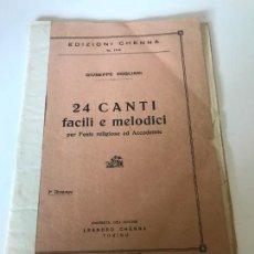 Partituras musicales: 24 CANTI FACILI E MELODICI. Lote 226300185