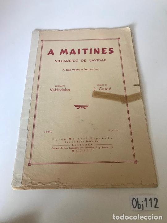 A MAITINES - VILLANCICO DE NAVIDAD (Música - Partituras Musicales Antiguas)