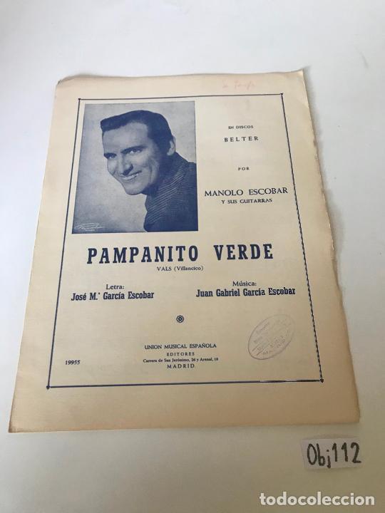 PAMPANITO VERDE - MANOLO ESCOBAR (Música - Partituras Musicales Antiguas)